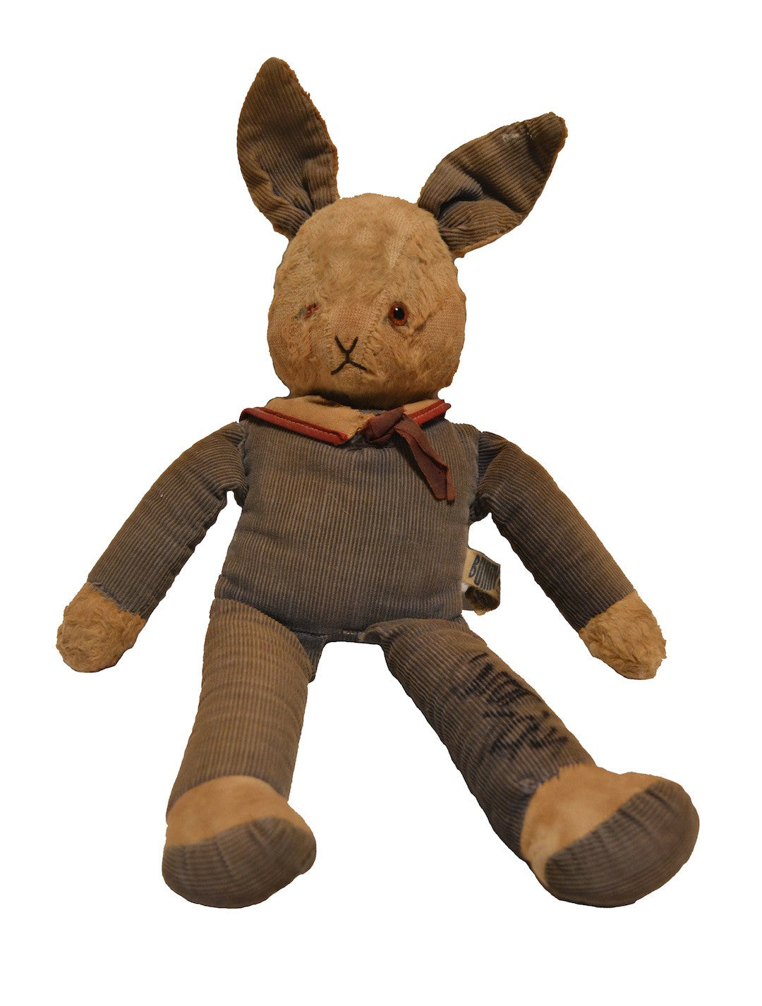 "A 17"" stuffed gray corduroy stuffed bunny from the personal collection of Carrie Fisher."