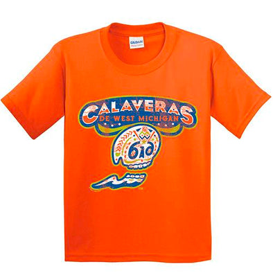 Calaveras de West Michigan Youth Orange Tee