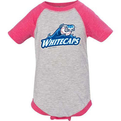 West Michigan Whitecaps Infant Pink/Grey Baseball Onesie