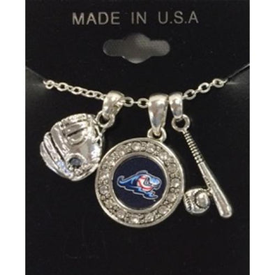 West Michigan Whitecaps Necklace/3-Charm Baseball