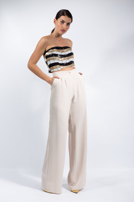 Beige Highwaist Wide Led Pants