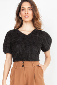 MOHAIR TOP BLACK OS