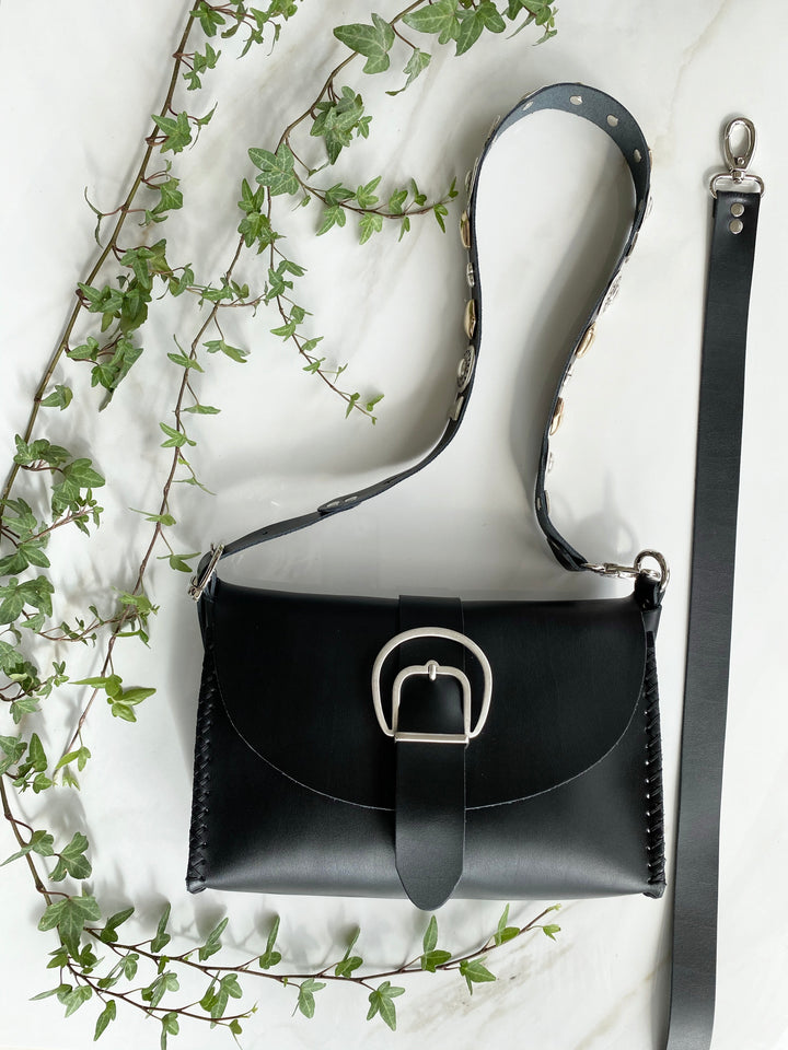 """HERE COMES THE SUN"" BLACK SHOULDER BAG"