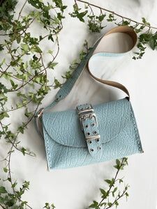 """MYSTERY OF LOVE"" BABY BLUE nickel SHOULDER BAG"