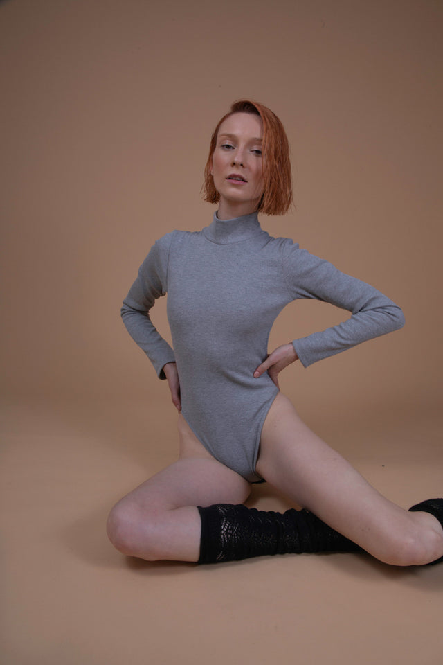 TARA TURTLENECK BODYSUIT LIGHT GREY