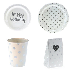 6pcs Silver Happy Birthady Disposable Tableware