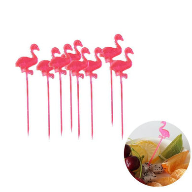 50 Pieces Red Flamingo Food Picks