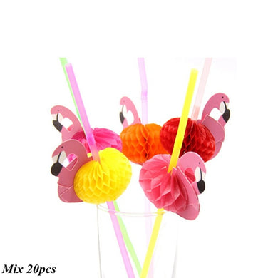 20PCS Flamingo Straws