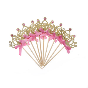 10pcs/lot Crown  Cupcake Toppers