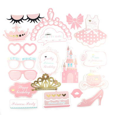 20 pcs Pink Princess Birthday Photo Booth Props