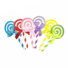 6pcs/lot Lollipops With Paper Straw Cupcake Topper