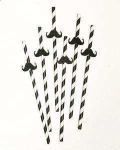 Moustache Paper Drinking Straws