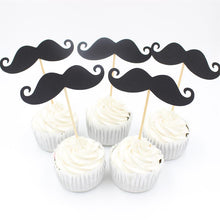 Black Moustache Cupcake Toppers