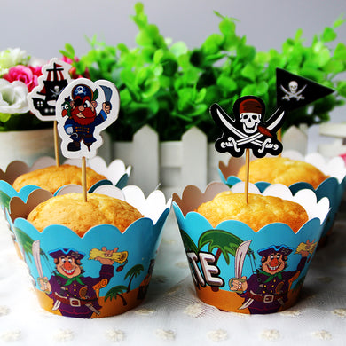 24pcs Pirate Party Paper Cupcake Wrappers