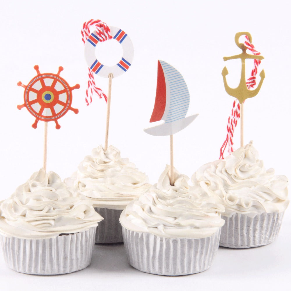 24 pcs/lot Sailing Boat  Cupcake Toppers