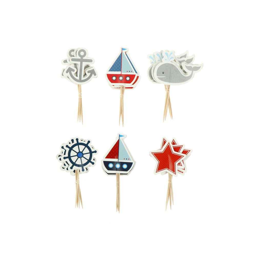 24pcs  Sailing Cupcake Toppers