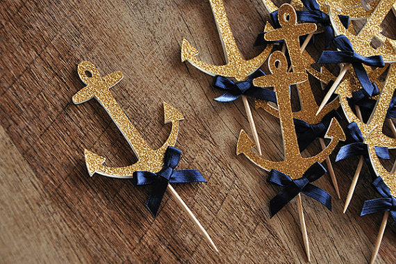 Navy Cupcake Topper 10pcs/pack
