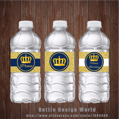 20 pcs/lot Gold Crown Water Bottle Labels