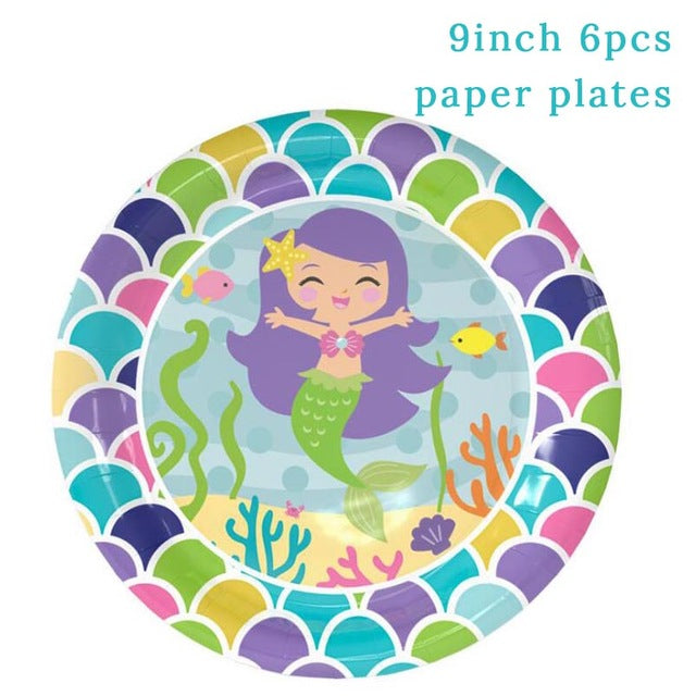 Mermaid 9 Inch Paper Plates