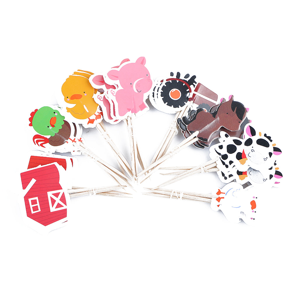 24 PCS Multicolor  Animal Cupcake Toppers