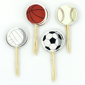 24pcs Sport Games Cupcake Toppers