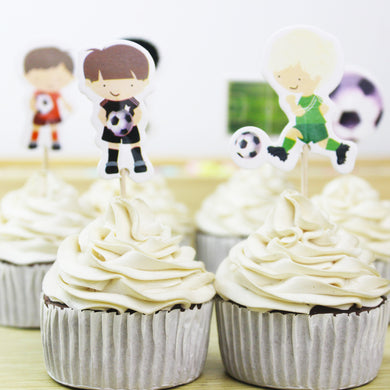 24pcs/lot Football Cupcake Toppers
