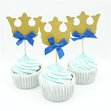 12pcs/lot Prince Crown Cupcake Topper