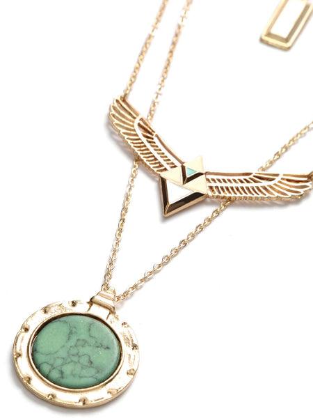 Women's Vintage Gold Layered Turquoise Pendant Wing Shape Necklace