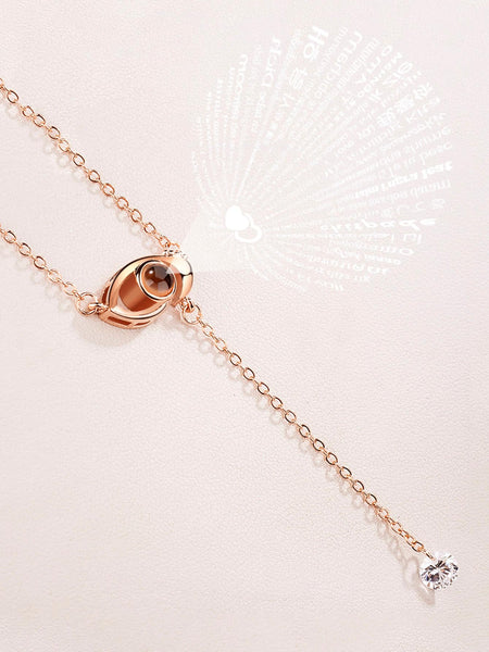 Ladies Gold Eye Pendant Light Projection Lariats Necklace With Gemstone