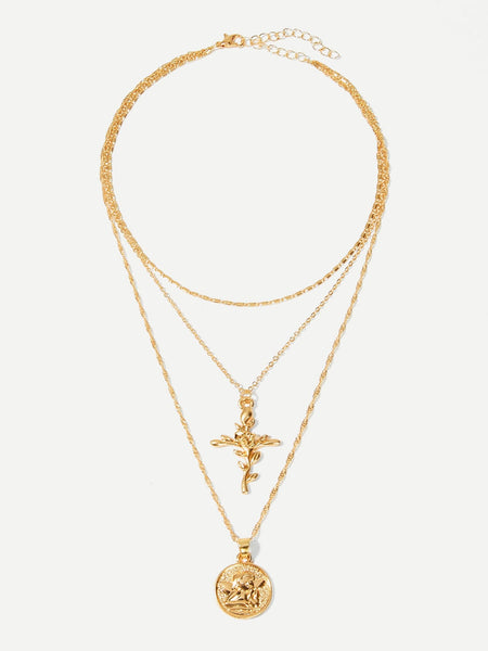 Ladies Cross & Round Pendant Layered Necklace
