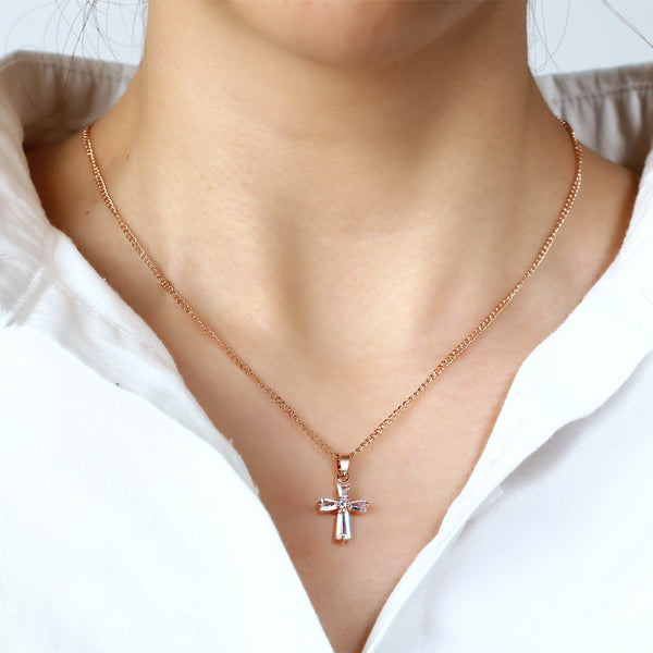 Women's Rose Gold/Silver Cubic Zirconia Cross Pendant Necklace - Bijoux Jewelry Gifts