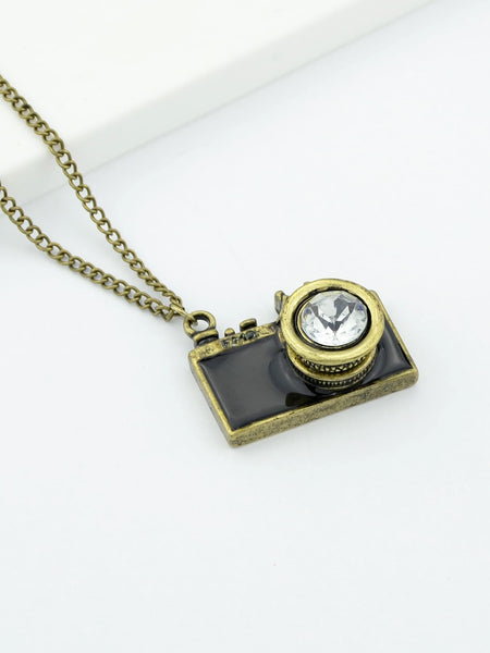 Vintage Black Gold Camera Pendant Necklace