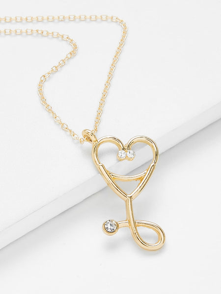 Women's Gold Heart Pendant Chain Necklace With Rhinestones