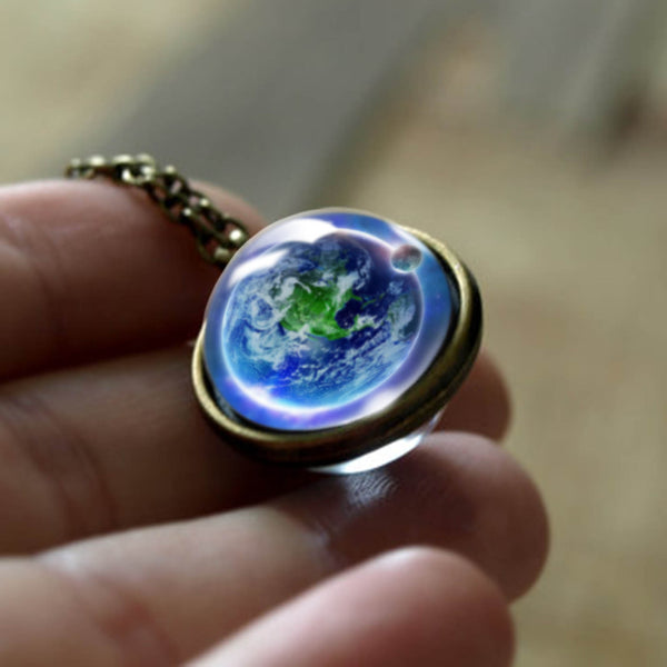 New Nebula Galaxy Double Sided Universe Planet Pendant Glass Art Statement Necklace Jewelry
