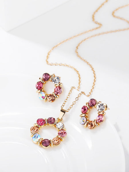 Women's Rhinestone Circle Pendant Necklace & Earrings - 3 Pack Set