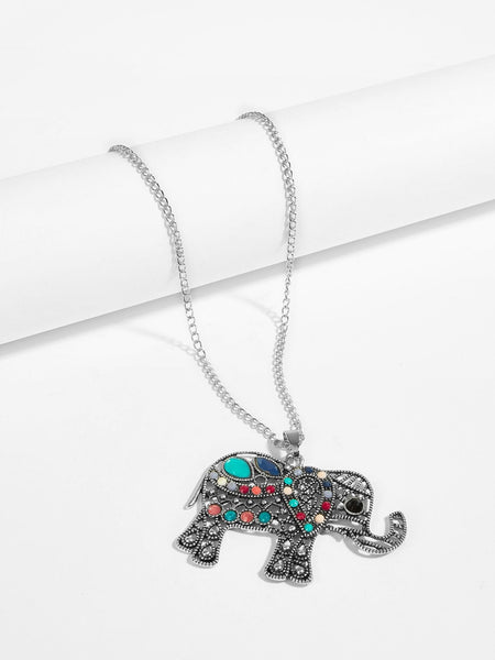 Hollow Elephant Pendant Necklace