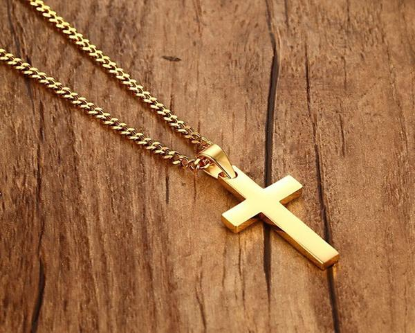 Stainless Steel Plain Black Cross Pendant Including Link Necklace - Unisex - Spiritualstore4u