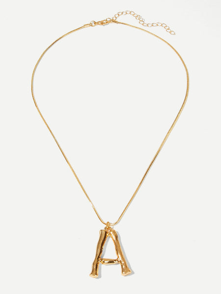 Gold Letter Pendant Chain Necklace