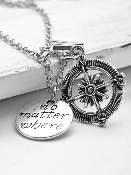 Ladies Silver Compass & Letter Pendant Chain Necklace