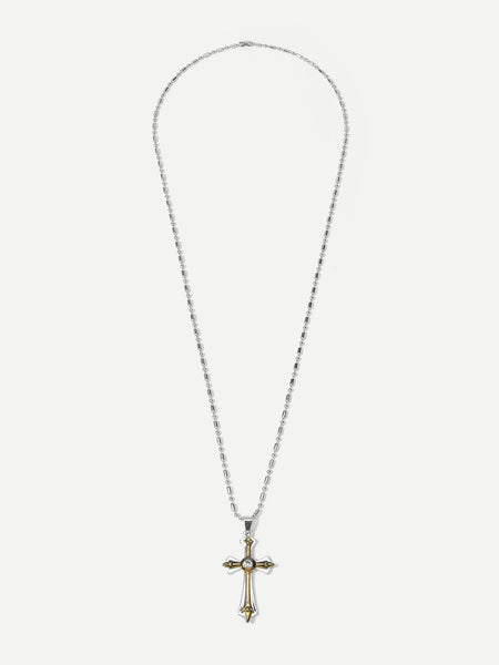 Men's Stainless Steel Cross Pendant Necklace With Gemstone