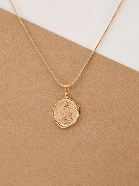 Gold Layered Saint Pendant Necklace And Stud Earrings Set
