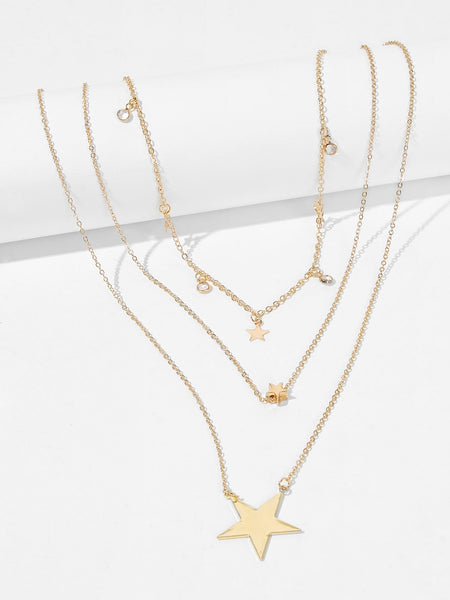 Women's Gold Star Pendant Layered Chain Necklace