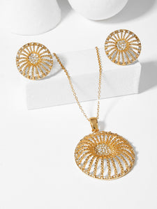 Women's Gold Hollow Round Pendant Necklace & Earrings - With Gemstones
