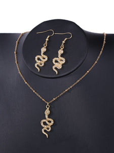 Ladies Snake Pendant Gold Necklace & Earrings Set With Gemstones
