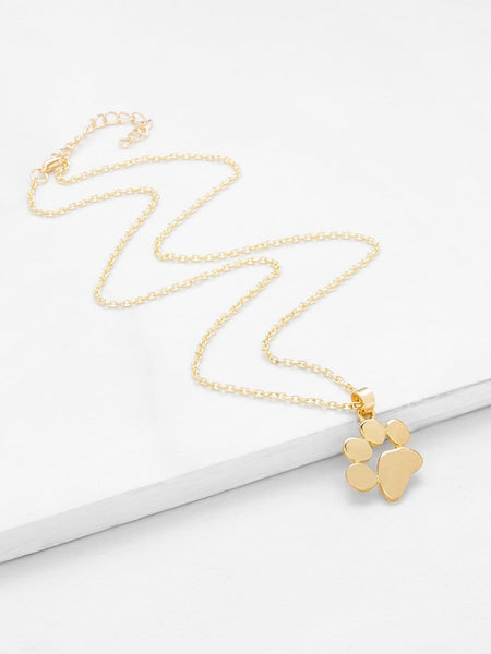 Ladies Gold Footprint Pendant Necklace
