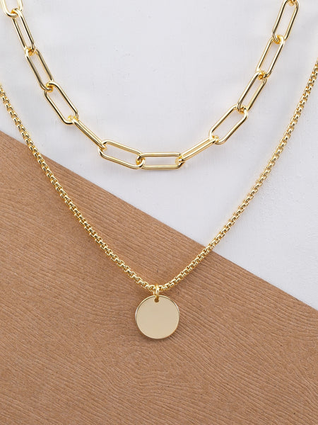 Ladies Gold Chain Link Double Layer Circle Pendant Necklace