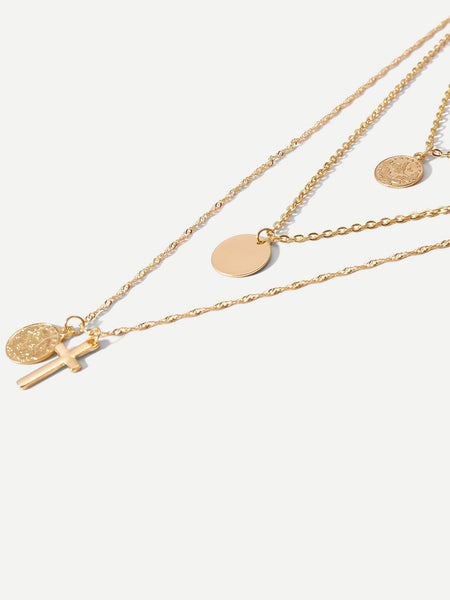 Coin & Cross Layered Pendant Necklace