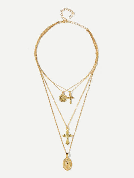 Women's Crucifix Cross Design Layered Pendant Necklace