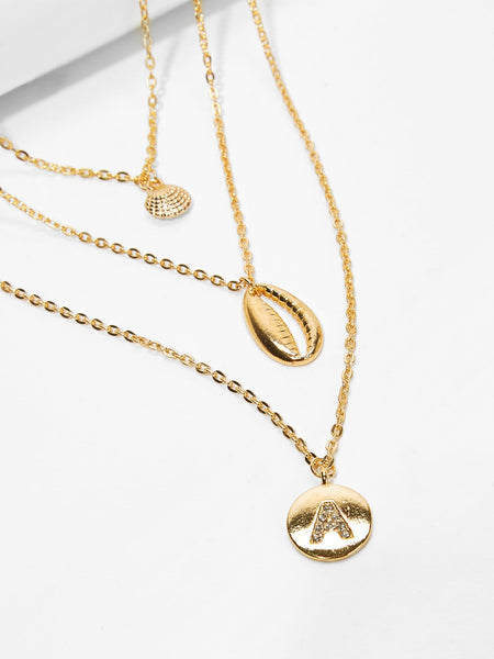 Women's Gold Seashell & Round Pendant Layered Chain Necklace
