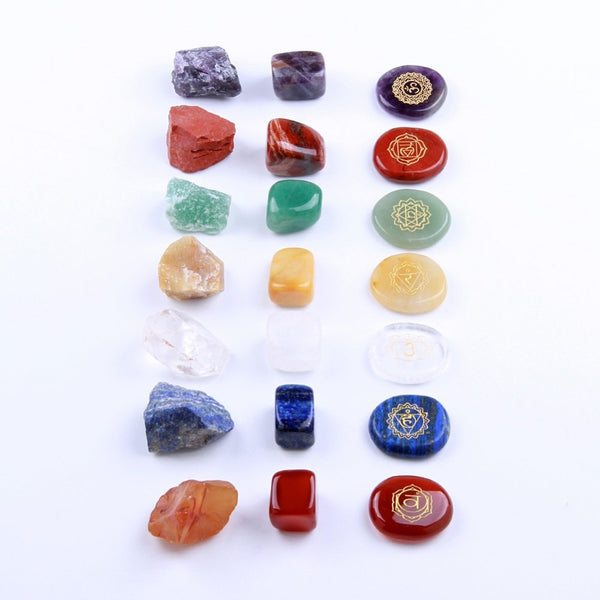 Natural Palm,Tumbled & Rough Crystal Chakra Stone Reiki Healing Therapy Kits - 7 Pieces Per Set